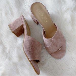 Bella Vita Nordstrom Pink Suede Mule Heel Slip On